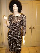 $289 ADRIANNA PAPELL BLACK SEQUIN SHEATH COCKTAIL DRESS SIZE: 6P