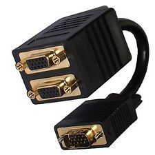 Monitor VGA SVGA Y Dual Splitter Cable Lead 1 PC to 2 Screens - GOLD