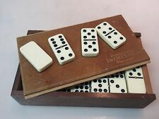 Vintage PRESSMAN TOURNAMENT DOMINOES Double Sixes Stamped Wooden Box 52 pcs