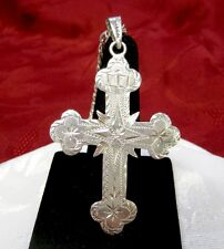 925 STERLING SILVER VINTAGE LARGE RELIGIOUS HEAVY CROSS PENDANT W/CHAIN NECKLACE