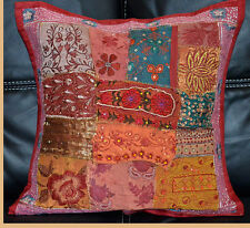 Hand Crafted Antique Patch Work Red Burgundy Pillow Cover Cushion Cover India!!