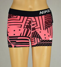 Nike Womens Pro Black/Pink Athletic Dry-Fit Compression Training Shorts XS