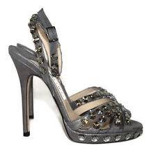 JIMMY CHOO JIGSAW grey anthracite metallic suede sandals heel shoes 37 Uk 4 BNWB
