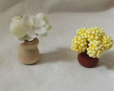 Dollhouse Miniature Flower Plastic White & Yellow Styrofoam Wood Pot Pair Set 2