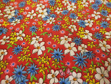 3 Metres Red Background, Daisy  Floral Printed Polycotton Fabric