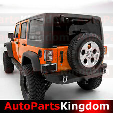 "07-17 Jeep JK Wrangler Rock Crawler HD Rear Bumper+2""Hitch Receiver+BLK Textured"