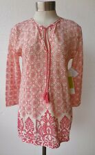 Sigrid Olsen Signature Cotton Blend Knit Terracotta Print Tunic Top L NWT $119