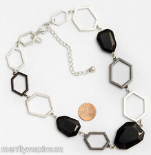 Chico's Signed Necklace Silver Tone & Gunmetal Abstract Chain Black Chunky Beads