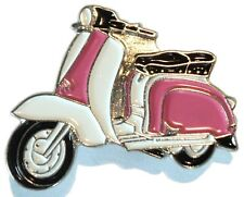 Pink & White Girls Scooter Female MOD Scooterist Bike Enamel Metal Pin Badge 2