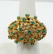 Beautiful 14K Yellow Gold Emerald Cluster Flower Ring Sz 7 A1624