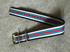 18mm .Nato. Nylon Watch Strap Wristwatch Band.New 2Black_2White_2Blue_Red