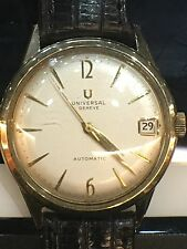 UNIVERSAL GENEVE MICROTOR 14K Gold Automatic Calendar Vintage Watch Cal. 215-27