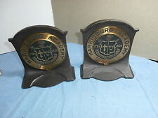 VINTAGE CS & CO CAST IRON & BRONZE BOOKENDS HARRISBURG PA ACADEMY SCHOOL