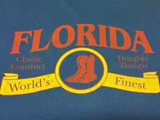 Vintage Florida Boots Xl T-Shirt Cowboy Riding Motorcycle Work Hunting Outdoor