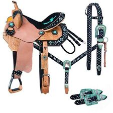 14 Inch CHEYENNE Western Barrel Saddle 5 Piece Pkg Black-Teal Cross Silver Royal