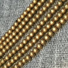 """BS07 Handmade Antique Gold Raw Solid Brass 4mm Beads Spacers Strand Necklace 30"""""""