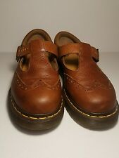DR. MARTENS DOC Madison Brown Leather T-Strap Mary Jane Chunk Heel Women Size 8
