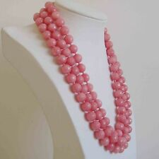 Natural 8mm faceted 3 rows light pink Rhodochrosite gemstone bead necklace17-19