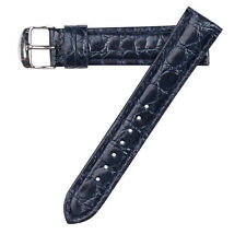 Hadley-Roma Men's Croc Grain Leather Stitched Blue Watch Band Strap 22mm MS907
