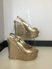 Carvela Kurt Geiger Women's Shoes Wedges Gold Size 4 37 Spikes Diamonds Vgc