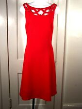 WHITE HOUSE BLACK MARKET RED FIT N FLARE CUT OUT DRESS $ 160.00  SIZE 14