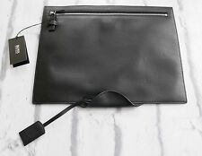 Smartest: Hugo Boss Norton Black Leather Document Folder iPad Case NWT & Dustbag