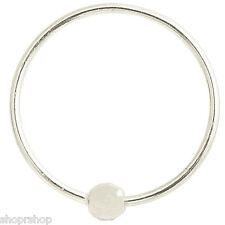 14K Solid White Gold Diamond Cut Ball Nose Hoop Captive Ring 20G 5/16 USA Made
