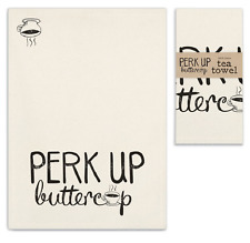 PERK UP BUTTERCUP Kitchen Tea Towel by CTW Home Collection - Black on Natural