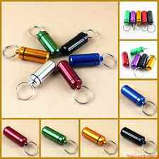 5 Pcs Waterproof Aluminum Pill Box Case Bottle Drug Holder Keychain Container