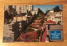 "LOMBARD ST ""Crookedest Street in the World"" SAN FRANCISCO CA vintage postcard"