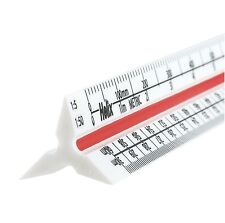 "2 x HELIX 300mm / 12"" METRIC TRIANGULAR SCALE RULE SOLID PLASTIC RULER"