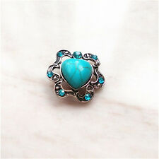 New Jewelry Turquoise Snaps Chunk Charm Button FIT For Noosa Leather Bracelets