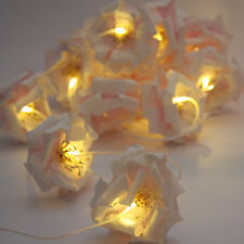 NEW* String 12 PALE PINK & WHITE ROSE PUFFS LED Fairy Lights Battery Operated