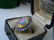 STUNNING VINTAGE STERLING SILVER FOIL OPAL & MARCASITE RING SIZE L UNUSUAL RARE