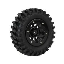 4x RC1:10 Rock Crawler Gravel Rubber Tire & 10 Holes Wheel Rim w/ Beadlock Black