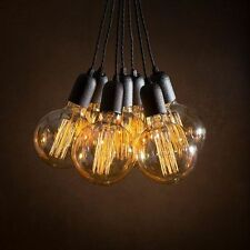 7 Vintage pendant light cluster + 7 Edison bulbs + Ceiling Rose + Braided leads