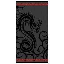 Serviette Drap de plage Dragon noir, fond gris, Jacquard strandtuch beach towel