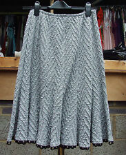 Joseph Ribkoff BNWT UK 10 Gorgeous Grey Chevron panel Skirt Black+ Studs Edging