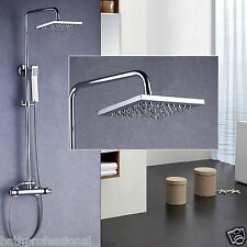 Thermostatic Shower Mixer Twin Head Bathroom Square Chrome Brass Easyplum Kit