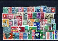 Schönes Lot Schweiz 1936-1960 ca. 55 Briefmarken gestempelt - b0070