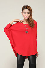 Stylish Women Ladies Loose Batwing Asymmetric Quality Knitted Baggy Top /Jumper
