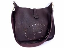 Authentic HERMES Taullion Leather Evelyne GM Shoulder Bag Dark Purple GHW Q126