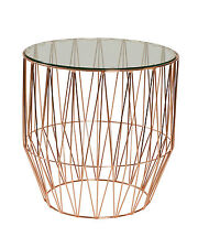 NEW Design Rose Gold Simple Round Side Table with Glass Top 50cm height