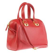 FENDI Red Chameleon Satchel Cross body Bag Pebbles Leather Tote