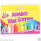 12 Jumbo Chunky Wax Crayons Bright Assroted Colours Kids School Children Colouri