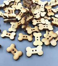 100pcs Wooden Dog Bone Buttons Natural color Sewing Scrapbooking Craft 18mm