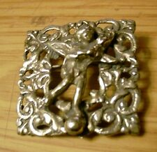 Antique / Continental Silver Cherub / Angel Brooch Clip