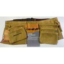 Pro Trade Quality 10 Pocket Genuine Leather Tool & Nail Belt Pouch Double Stitch