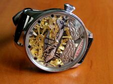 ZENITH SKELETON ANTIQUE BRANDED HIGH GRADE ENGRAVED MOVEMENT NEW CASE