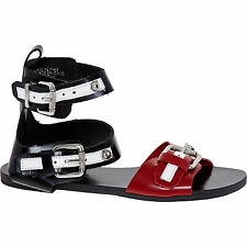 Diesel Black and Red Leather Gladiator Flat Sandals Size 4 37 Brand New with Box